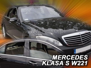 Wind deflectors MERCEDES S W221 4d 2005-2013 (short version) (rear deflectors included)