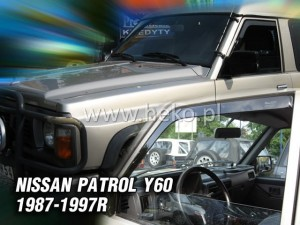 Wind deflectors NISSAN Patrol Y60 (electric side mirrors) (front only)