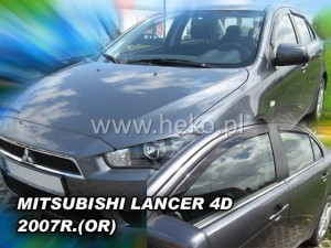 Wind deflectors MITSUBISHI Lancer 4/5d 2007-> (stick-on) (rear deflectors included)