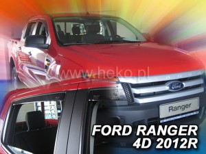 Wind deflectors FORD Ranger III 4d 2012-> (rear deflectors included)