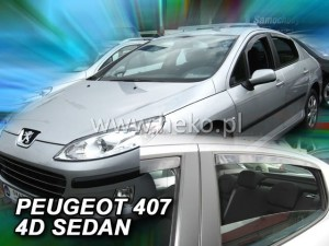 Wind deflectors PEUGEOT 407 4d 2004-> sedan (rear deflectors included)