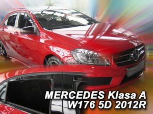 Wind deflectors MERCEDES A W176 5d 2012-> (rear deflectors included)