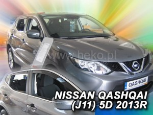 Wind deflectors NISSAN Qashqai J11 5d 2013-> (rear deflectors included)
