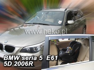 Wind deflectors BMW Seria 5 E-61 2003-2010 wagon (rear deflectors included)