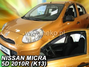 Wind deflectors NISSAN Micra K-13 5d 11.2010-2017 (front only)