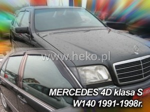 Wind deflectors MERCEDES S W140 4d 1991-1998 (stick-on) (rear deflectors included)