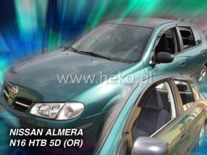 Wind deflectors NISSAN Almera N16 5d 2000-2006 htb (stick-on) (rear deflectors included)