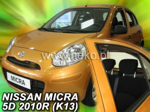 Wind deflectors NISSAN Micra K-13 5d 11.2010-2017 (rear deflectors included)